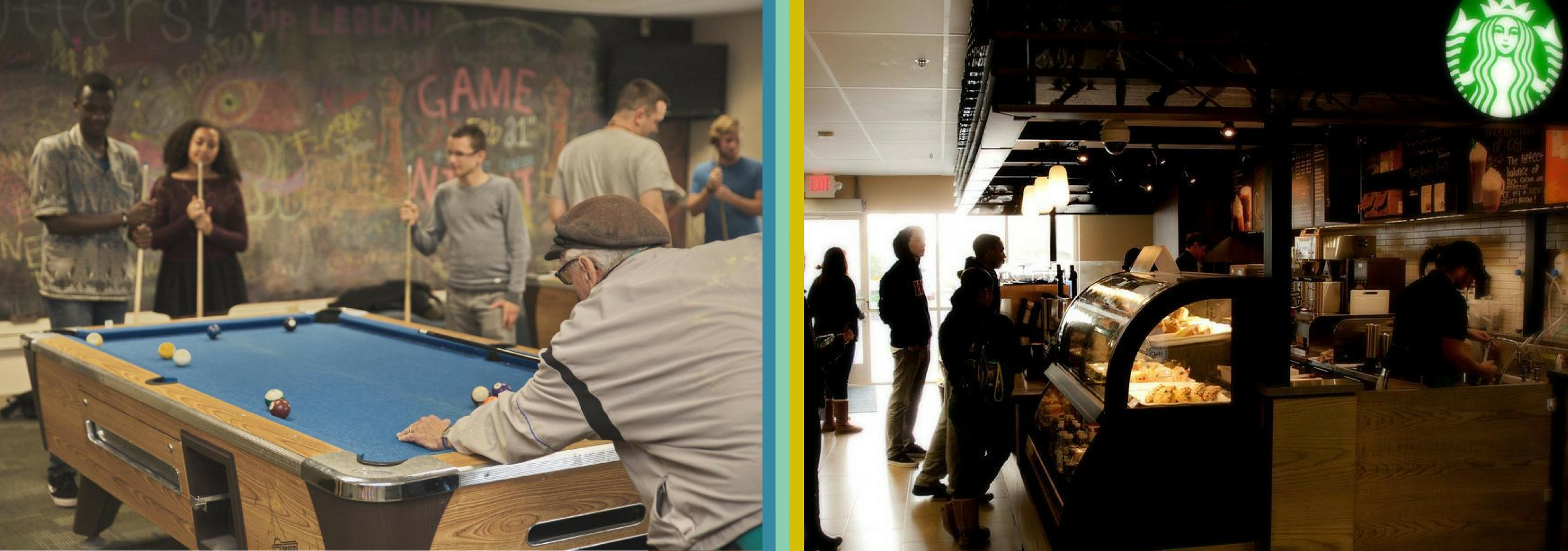 Image collage of game room and Starbucks