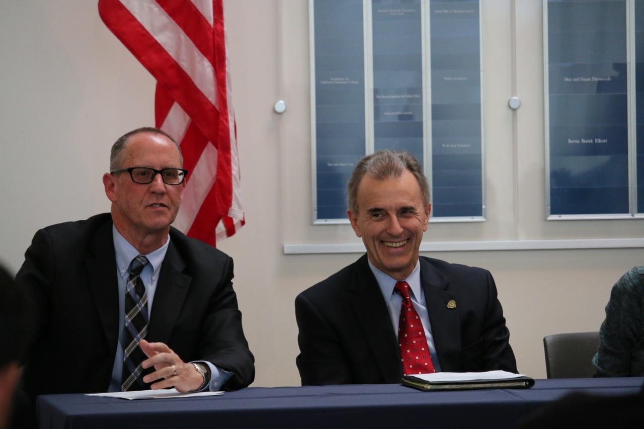 Hartnell College President Willard Lewallen and CSUMB President Eduardo Ochoa