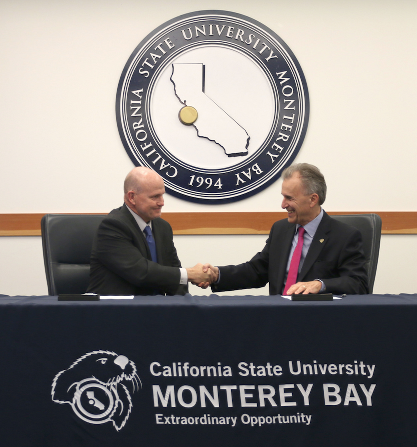 CSUMB President Eduardo M. Ochoa and MPC President Walter T. Tribley Sign the MOU May 15, 2017