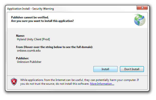 Application Install Security Warning Window