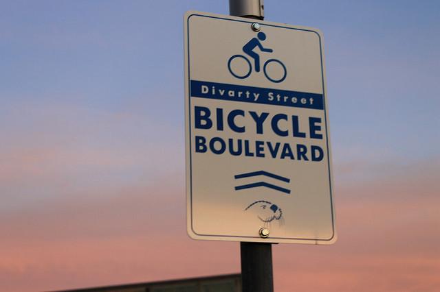 Divarty Street's Bicycle Boulevard sign