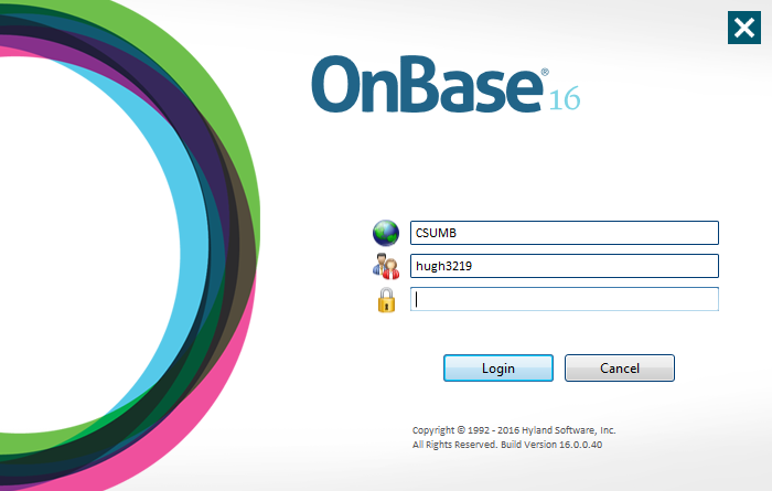 OnBase 16 Login Window