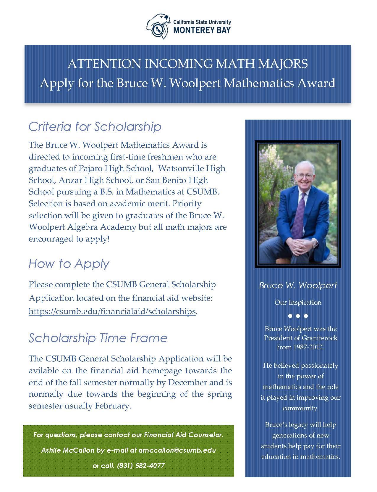 Bruce W. Woolpert Mathematics Award
