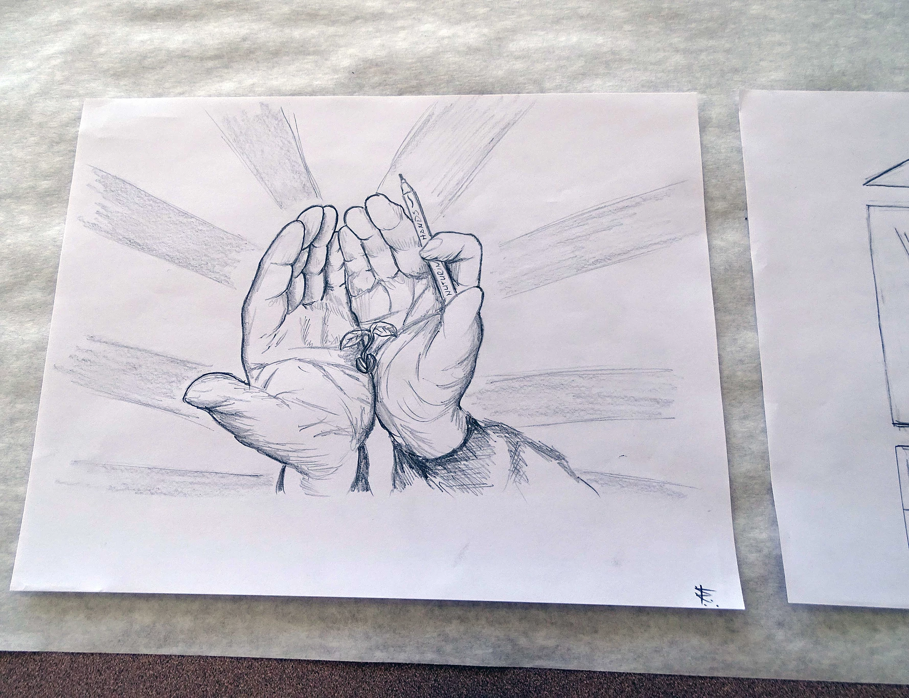 Drawing of open hands holding a marker