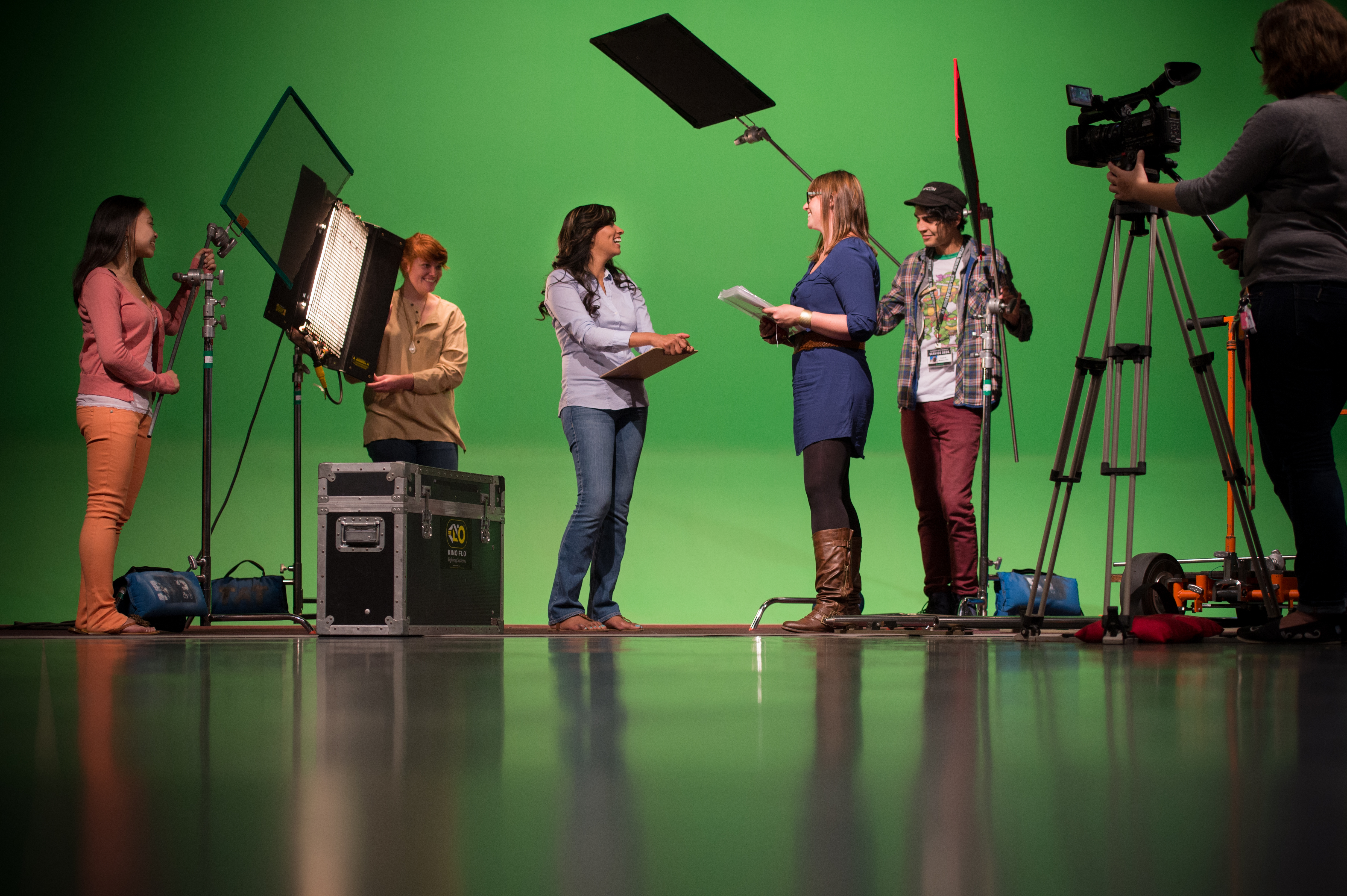 Students in the Cinematic Arts studio.