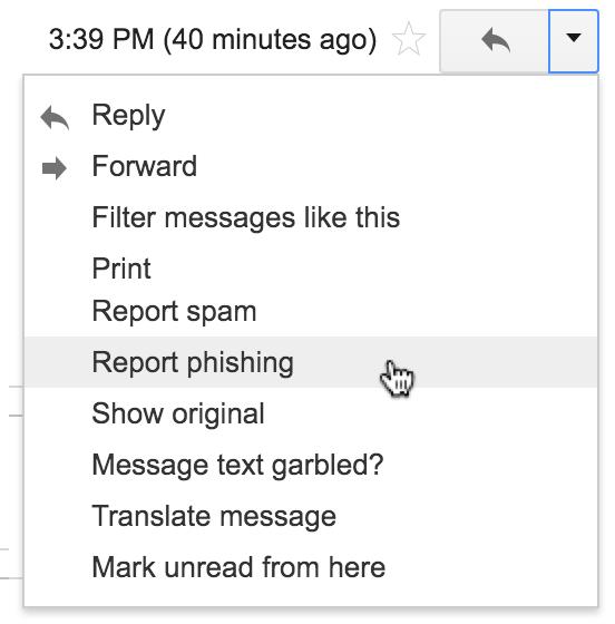 Selecting Report Phishing