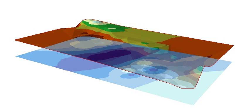 GIS visualizations depicting water velocity.