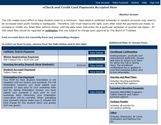 Shows Student Payments Account
