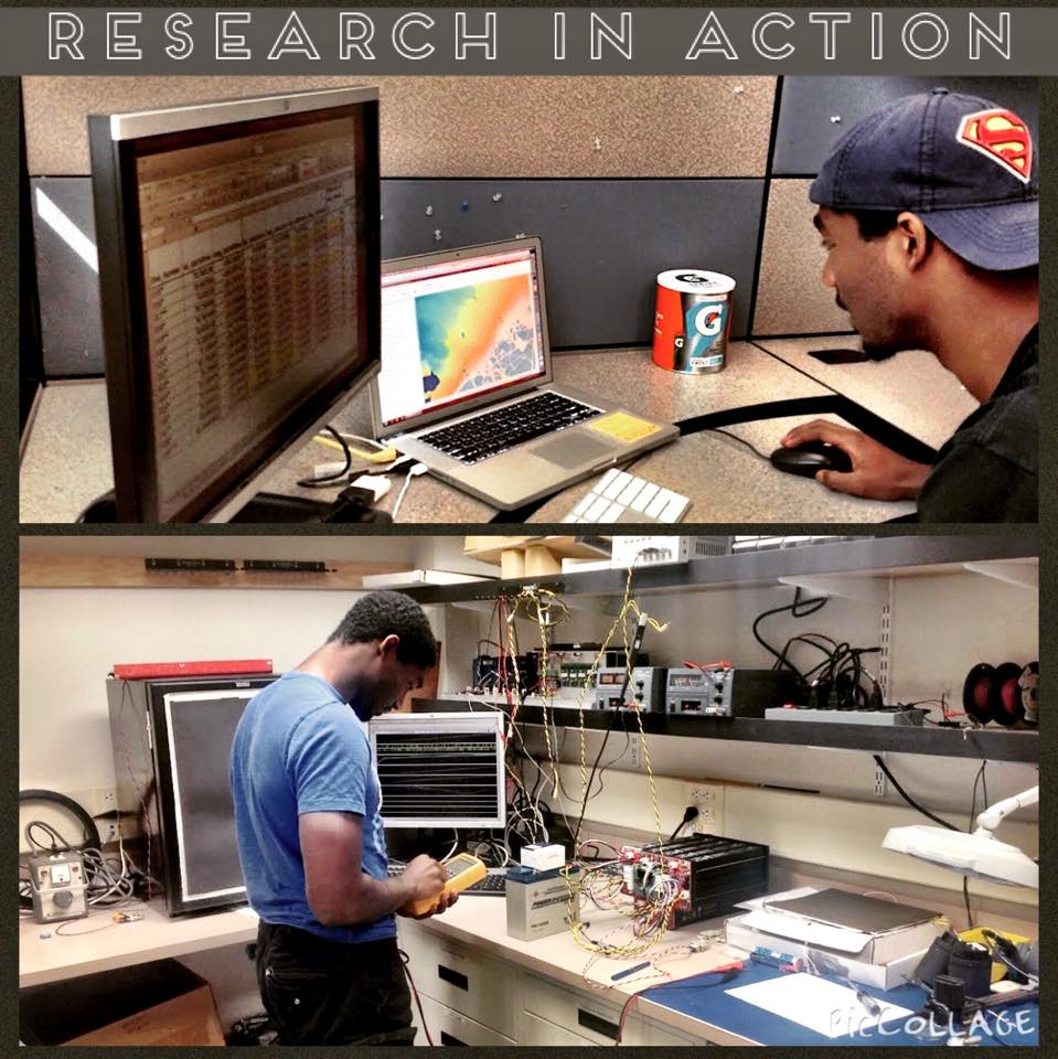 REU student working in a research lab