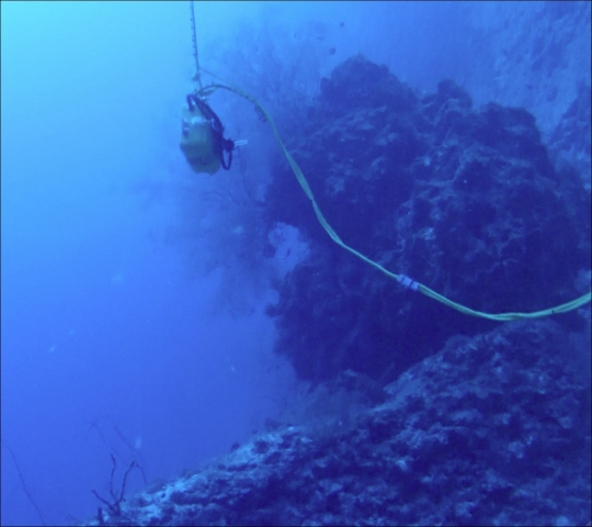 Battery box underwater near boulder