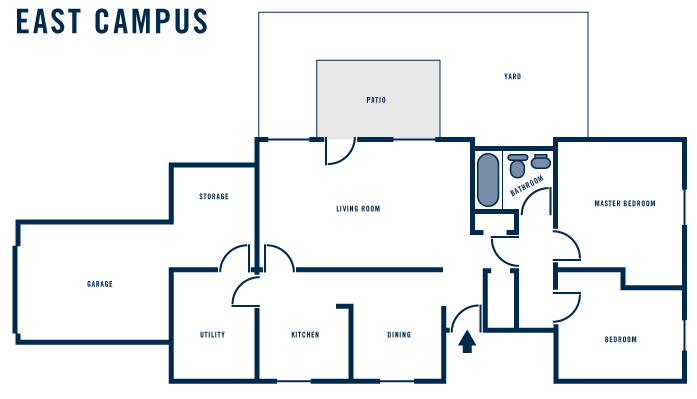 Sample floor plan for East Campus apt. Actual layouts may vary