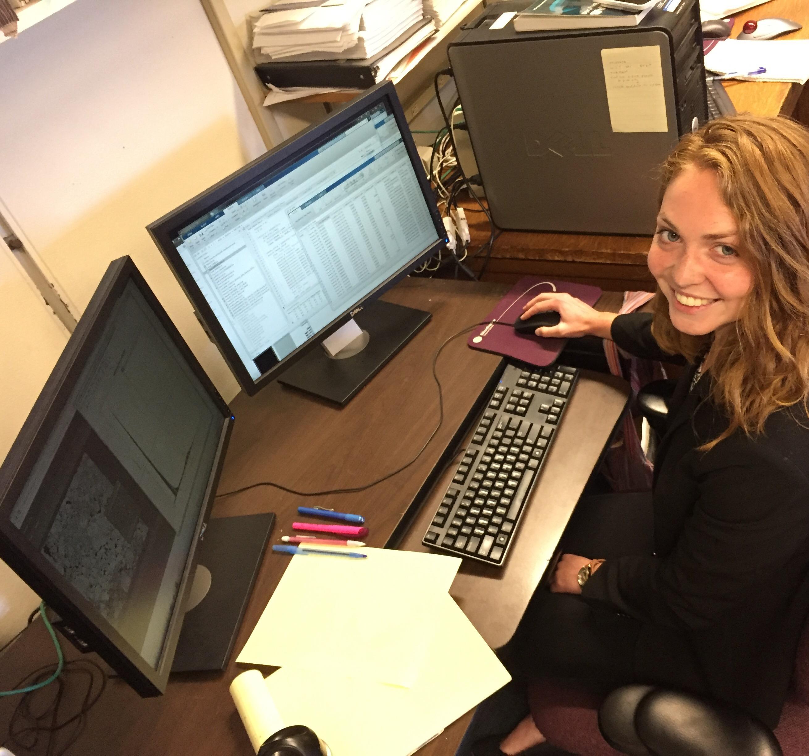 Emily Peterson working on satellite data analysis