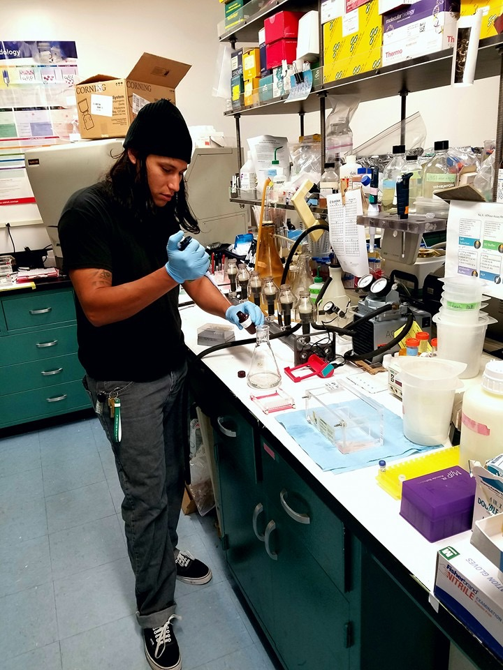 Aaron at the molecular bench